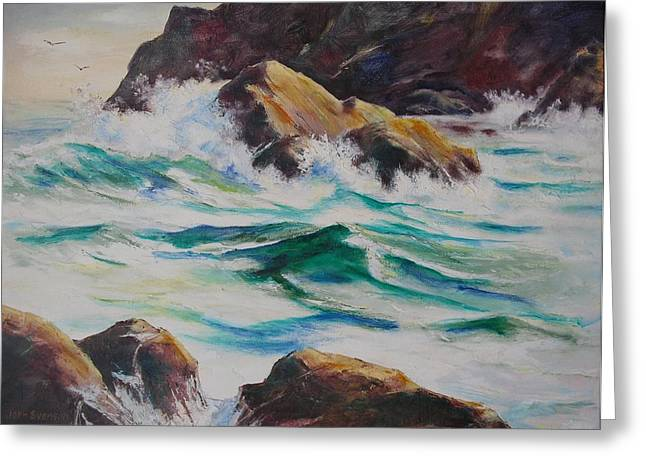 Coastal Rocks Greeting Card by John  Svenson
