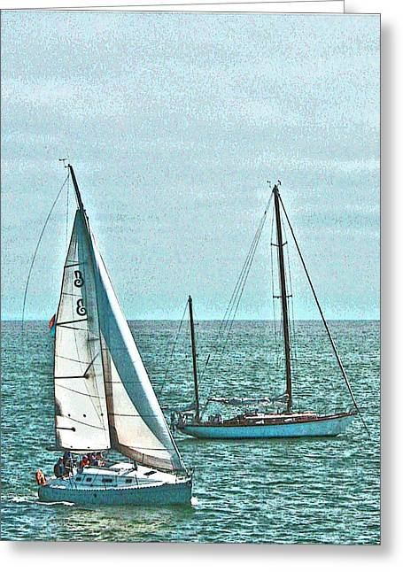 Coastal Sail Boats Greeting Card
