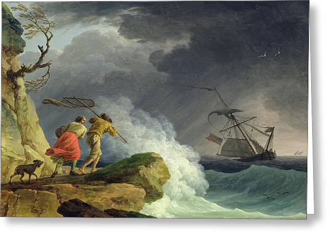 Coastal Scene In A Storm Greeting Card by Claude Joseph Vernet