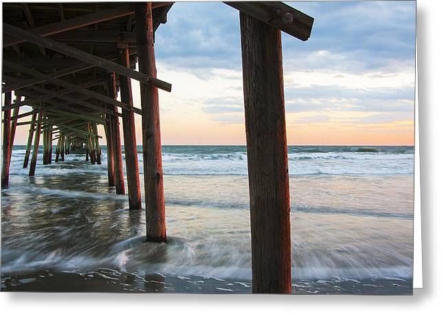 Coastal Sunset At Oceanana Fishing Pier Greeting Card