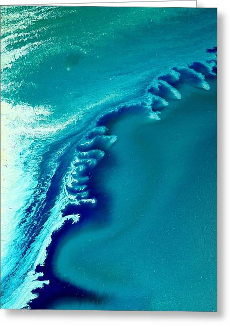 Coastal Surf Blue Abstract Waves By Kredart Greeting Card by Serg Wiaderny