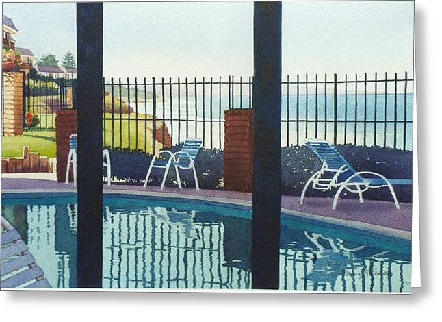 Coastal Swimming Pool Greeting Card by Mary Helmreich