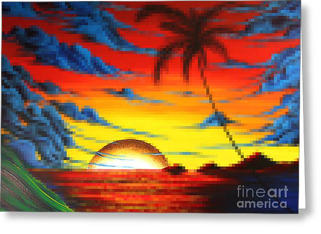 Coastal Tropical Abstract Colorful Pixel Art Digital Painting Compilation Tropical Bliss By Madart Greeting Card by Megan Duncanson