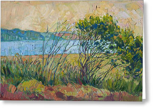 Greeting Card featuring the painting Coastal View by Erin Hanson