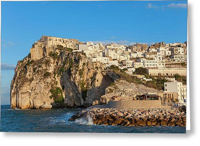 Coastal Village Of Peschici Greeting Card by Peter Adams