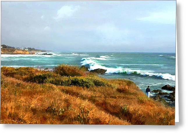 Coastal Waves Roll In To Shore Greeting Card by Elaine Plesser