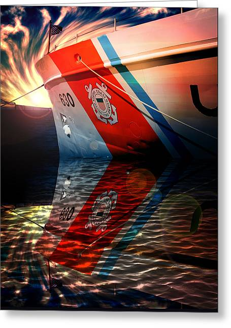 Greeting Card featuring the photograph Coast Guard Uscg Alert Wmec-630 by Aaron Berg