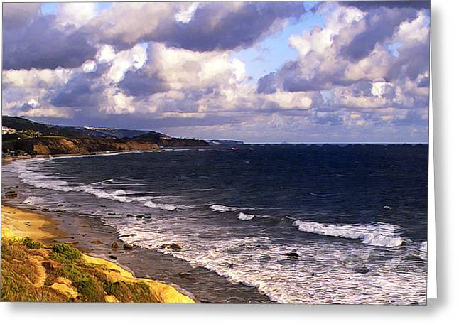 Coastline At Crystal Cove Greeting Card by Ron Regalado