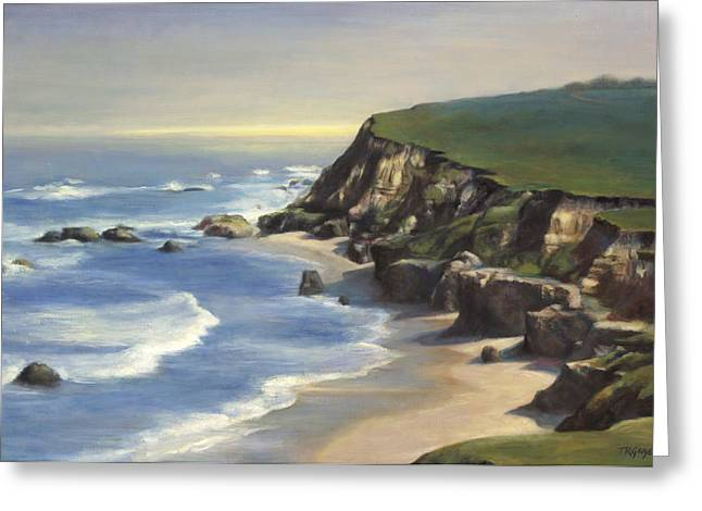 Coastline Half Moon Bay Greeting Card by Terry Guyer
