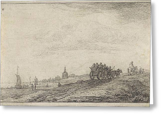 Coastline With Horse And Carriage, Anthonie Waterloo Greeting Card