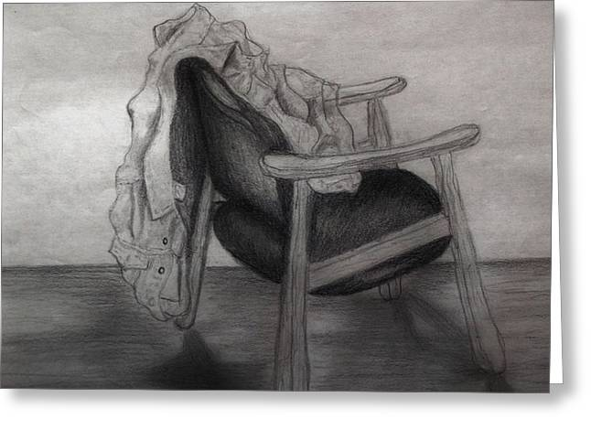 Coat In The Empty Chair Greeting Card by Marjudy Royo
