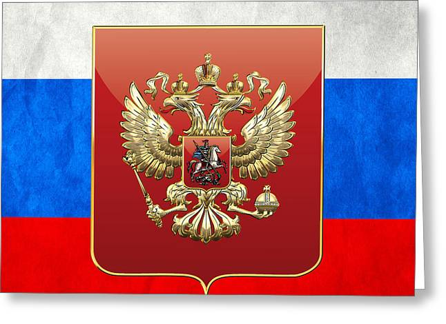 Coat Of Arms And Flag Of Russia Greeting Card by Serge Averbukh