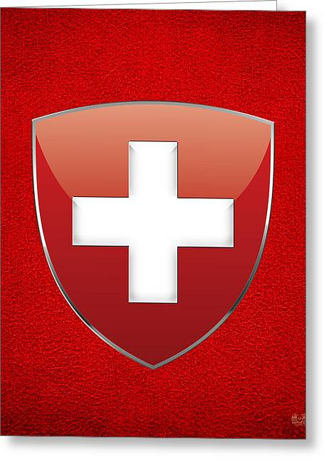 Coat Of Arms And Flag Of Switzerland Greeting Card by Serge Averbukh
