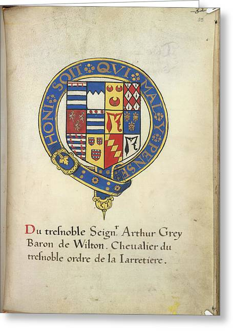 Coat Of Arms Of Arthur Grey Greeting Card by British Library
