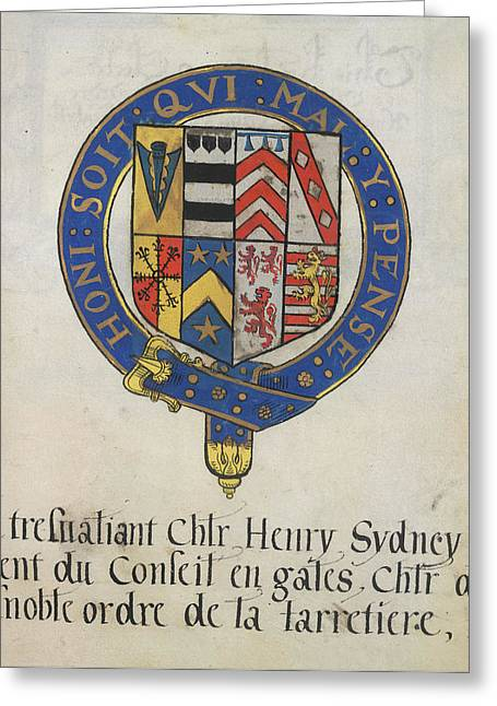 Coat Of Arms Of Sir Henry Sydney Greeting Card by British Library