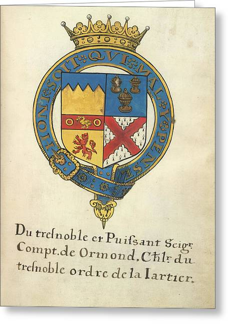 Coat Of Arms Of Thomas Butler Greeting Card by British Library