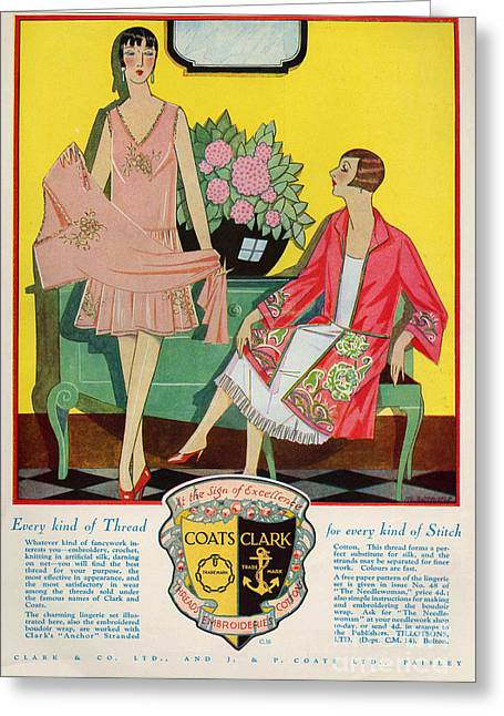 Coats And Clark  1920s Uk Art Deco Greeting Card by The Advertising Archives