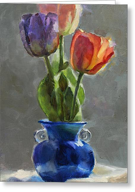 Cobalt And Tulips Still Life Painting Greeting Card