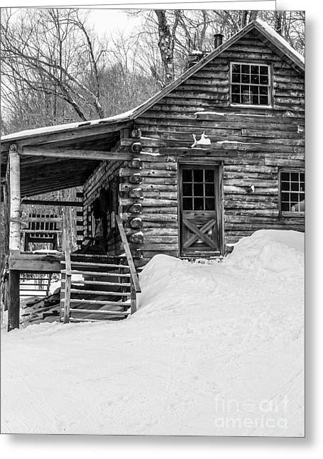 Slayton Pasture Cobber Cabin Trapp Family Lodge Stowe Vermont Greeting Card by Edward Fielding