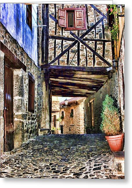 Cobble Streets Of Potes Spain By Diana Sainz Greeting Card