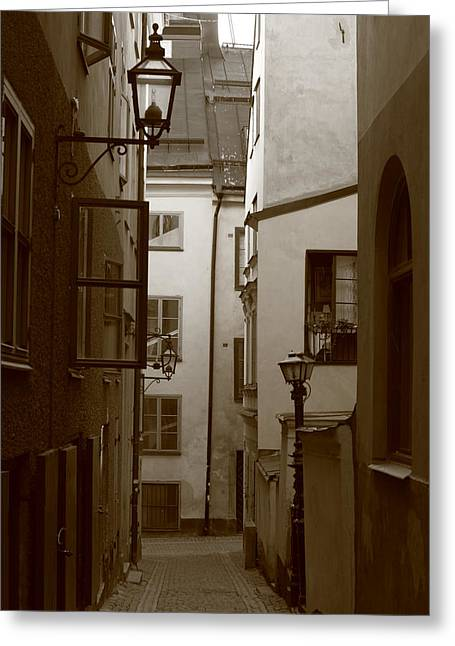 Cobbled Medieval Street - Monochrome Greeting Card by Ulrich Kunst And Bettina Scheidulin