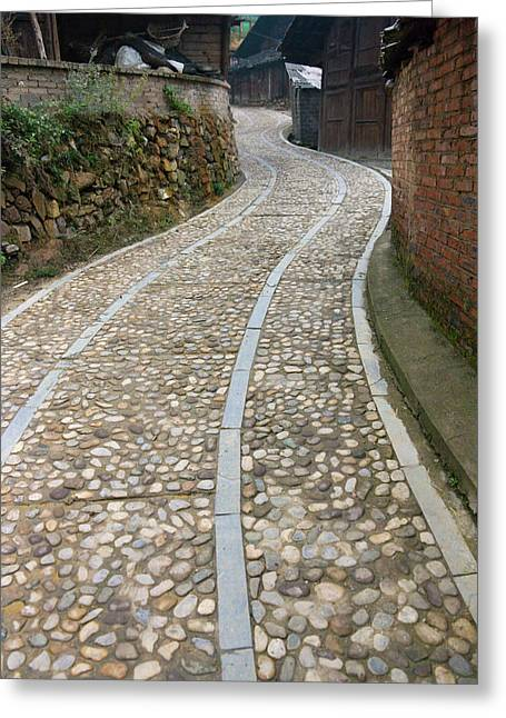 Cobbled Street In The Miao Village Greeting Card