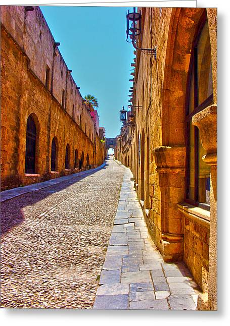 Rhodes Cobbled Street Greeting Card by Scott Carruthers