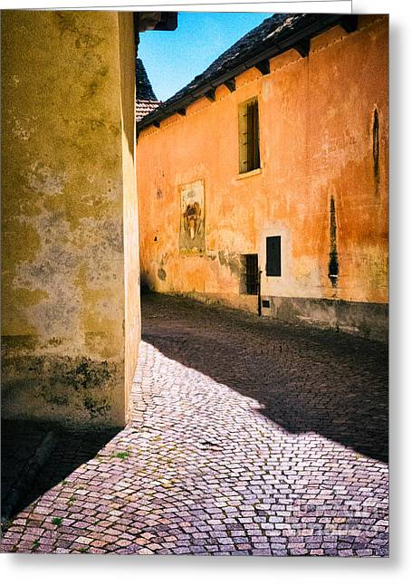 Greeting Card featuring the photograph Cobbled Street by Silvia Ganora