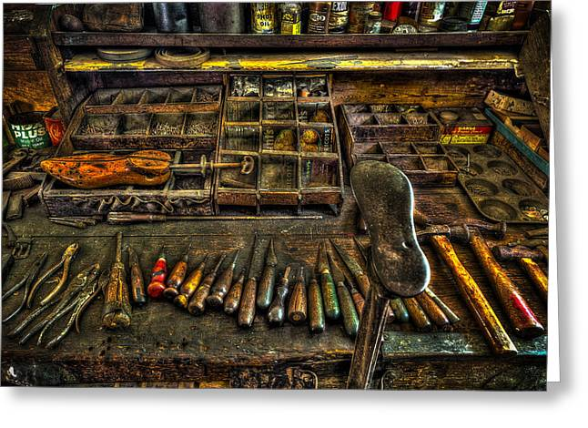Cobblers Tools Greeting Card by David Morefield
