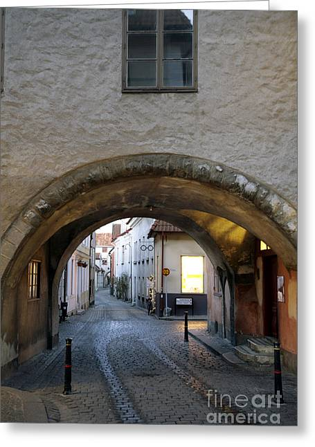 Cobblestone And Arcade Greeting Card by Ladi  Kirn