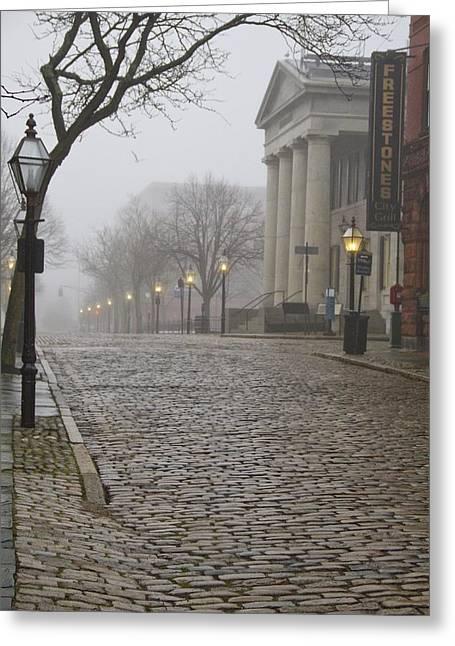 Cobblestone Street In Fog Greeting Card