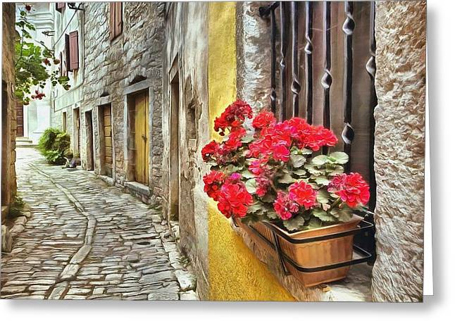 Cobblestone Streets Of Bale Greeting Card by Maciek Froncisz