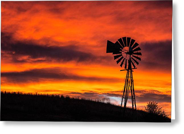 Cobblestone Windmill At Sunset Greeting Card