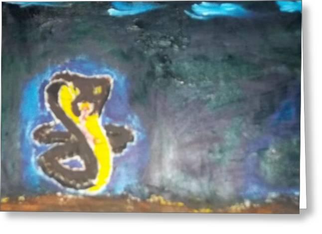 Cobra Oil Painting Greeting Card by William Sahir House