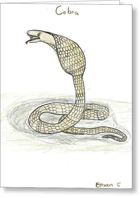Greeting Card featuring the drawing Cobra  by Ethan Chaupiz