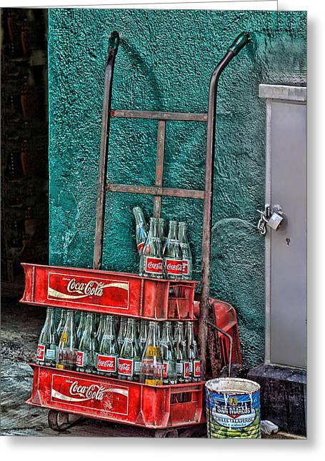 Coca Cola Cart And Bottles 1 Greeting Card by Linda Phelps