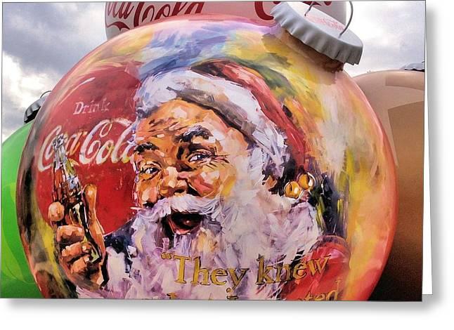 Coca Cola Christmas Bulbs Greeting Card by Dan Sproul