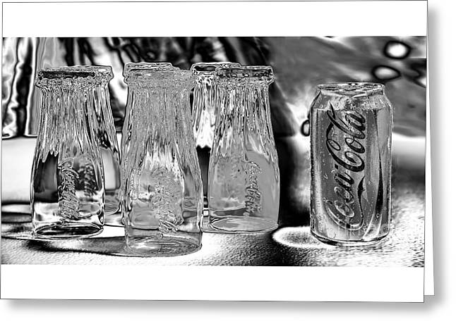 Coca-cola Glasses And Can - Liquid Chrome By Kaye Menner Greeting Card