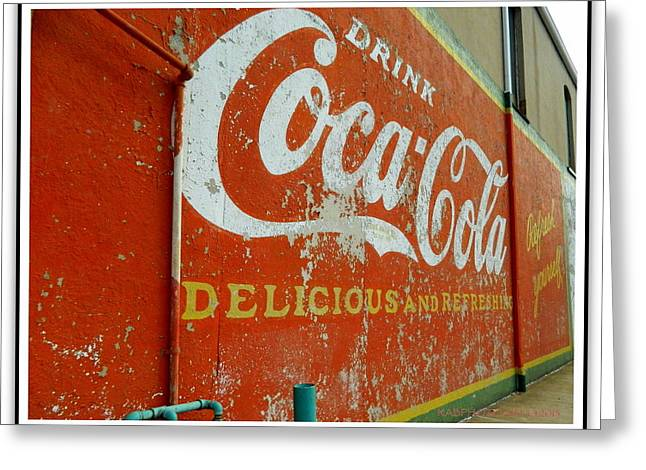 Coca-cola On The Army Store Wall Greeting Card by Kathy Barney