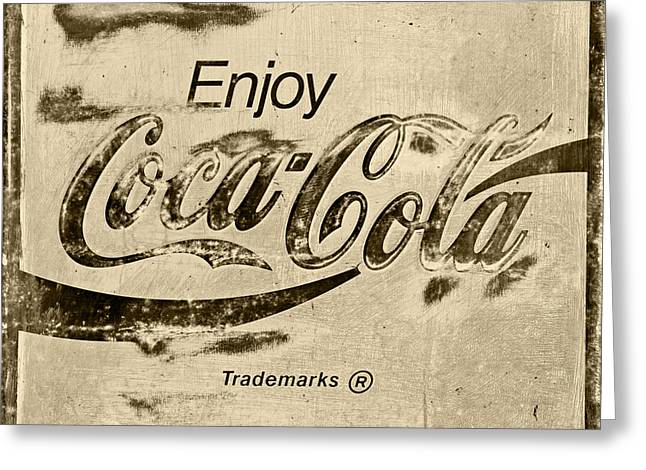 Coca Cola Sign Retro Style Greeting Card by John Stephens