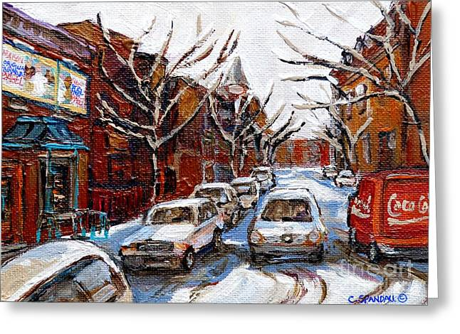 Coca Cola Truck In Traffic Fairmount Street Plateau Montreal Mile End Paintings Winter City Scenes   Greeting Card