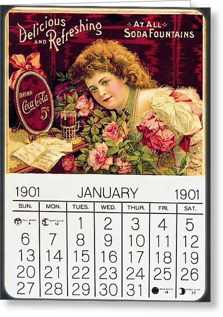 Coca - Cola Vintage Calendar Greeting Card by Gianfranco Weiss
