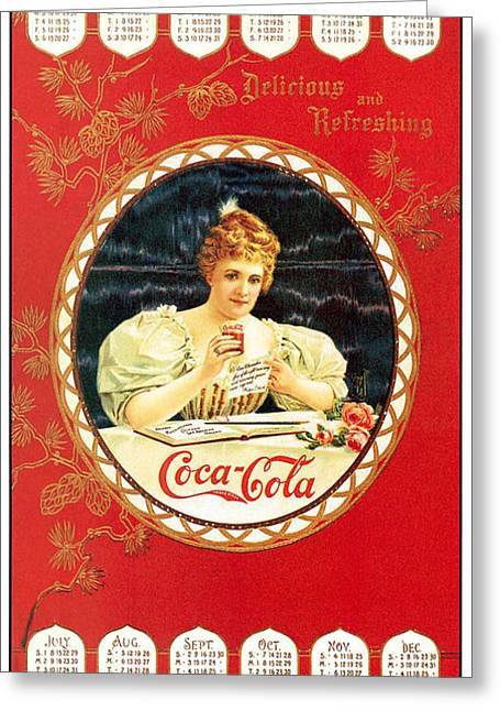 Coca - Cola Vintage Poster Calendar Greeting Card by Gianfranco Weiss