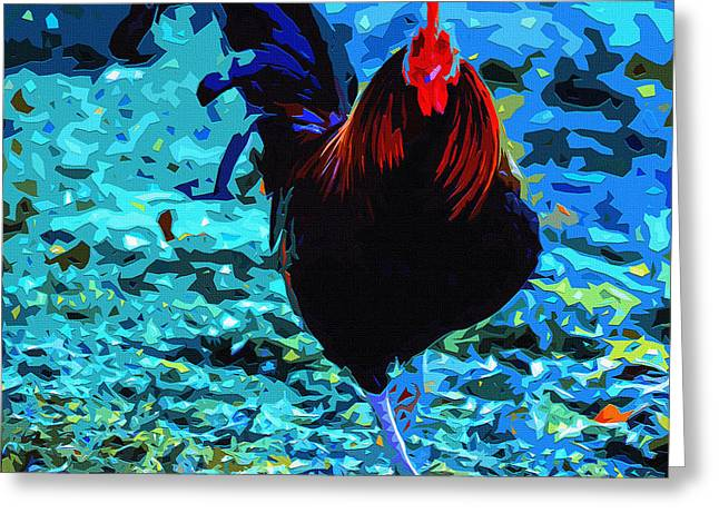 Cock-a-doodle-blue Greeting Card
