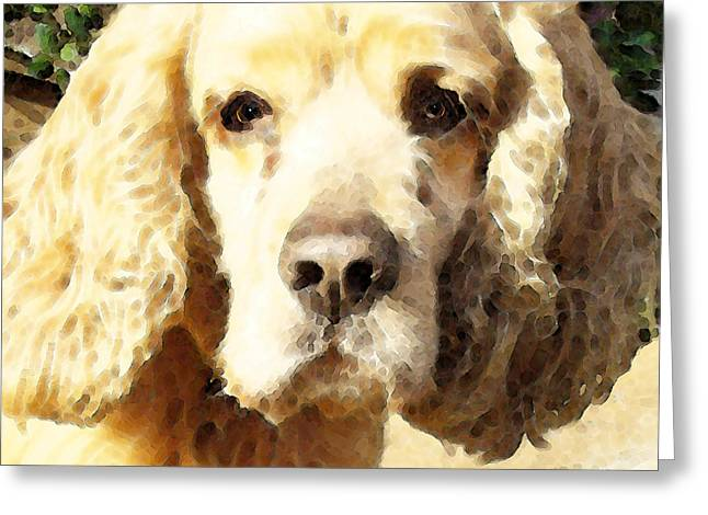 Cocker Spaniel Art - Mellow Yellow Greeting Card by Sharon Cummings