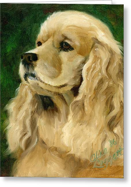 Cocker Spaniel Dog Greeting Card by Alice Leggett
