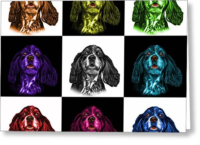 Cocker Spaniel Pop Art - 8249 - V2 - M Greeting Card