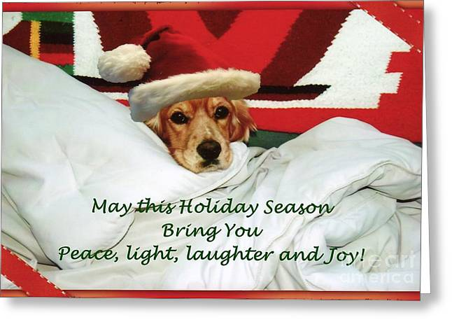 Greeting Card featuring the photograph Cocker Spaniel Santa Greetings by Polly Peacock