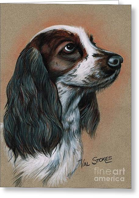 Cocker Spaniel Greeting Card by Val Stokes