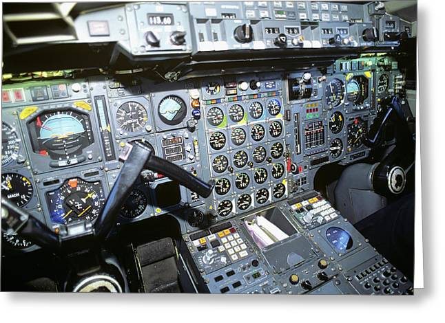 Cockpit Of Concorde Sst - Supersonic Greeting Card